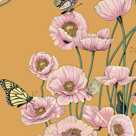 Poppies_and_Butterflies_Pastel_on_gold. fabric by house_of_heasman on Spoonflower - custom fabric