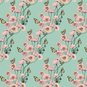 Pink Poppies_and_Butterflies on_Pale_Aqua.