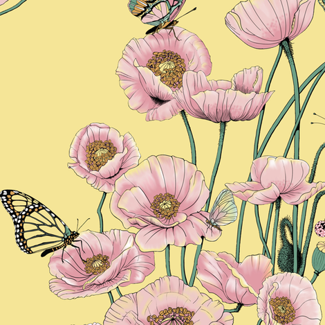 Pink Poppies_and_Butterflies on Pale Yellow. fabric by art_on_fabric on Spoonflower - custom fabric