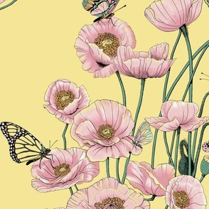 Pink Poppies_and_Butterflies on Pale Yellow.