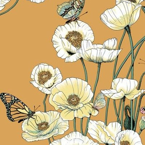 White and Pale Yellow Poppies on Gold.