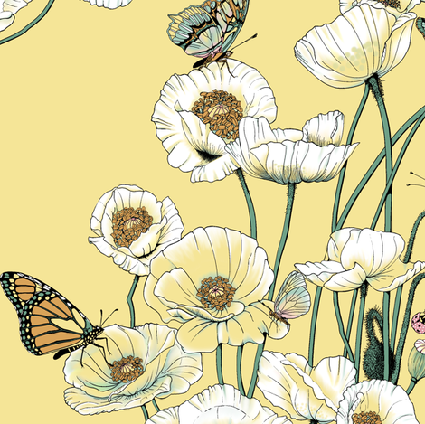 Poppies_and_Butterflies_Pale_yellow_blossoms_on_pale_yellow fabric by house_of_heasman on Spoonflower - custom fabric