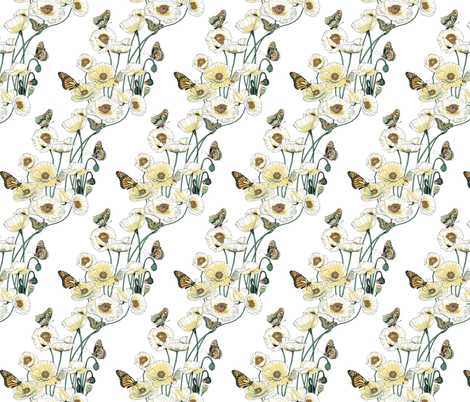 Poppies_and_Butterflies_Pale_yellow_blossoms_on_white fabric by art_on_fabric on Spoonflower - custom fabric