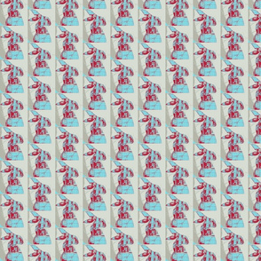 red & blue hare