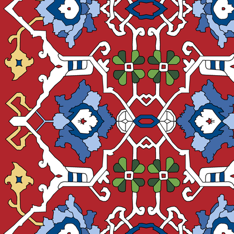 Custom 16th Century Floral Border fabric by pond_ripple on Spoonflower - custom fabric