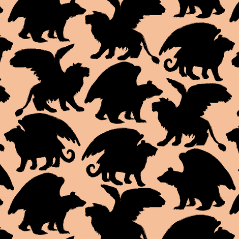 Lions and tigers and bears, Silhouette fabric by eclectic_house on Spoonflower - custom fabric