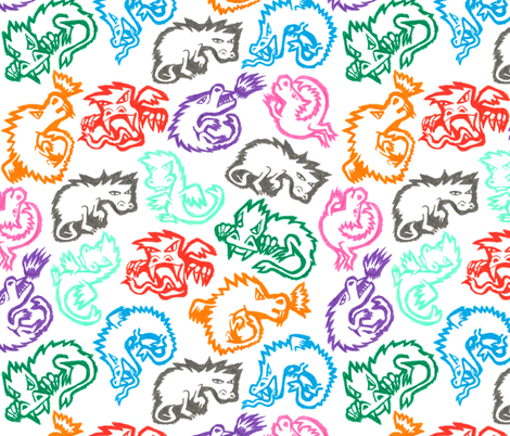 Crayon Dragons fabric by ornaart on Spoonflower - custom fabric