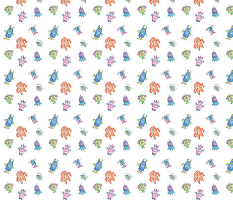 happy crayon monsters-1 fabric by pamela_hamilton on Spoonflower - custom fabric