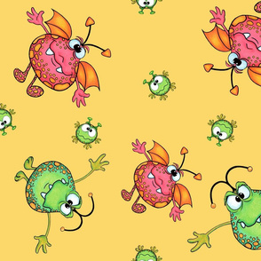 Baby monsters on yellow