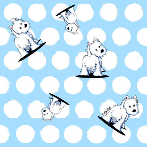 Fluffybutt Westies fabric by kiniart on Spoonflower - custom fabric