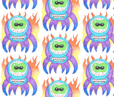 Purple Crayon Fire Monsters fabric by art_rat on Spoonflower - custom fabric