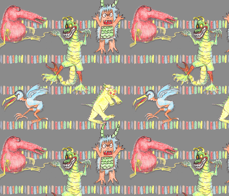 crayon_monsters fabric by mahoneybee on Spoonflower - custom fabric