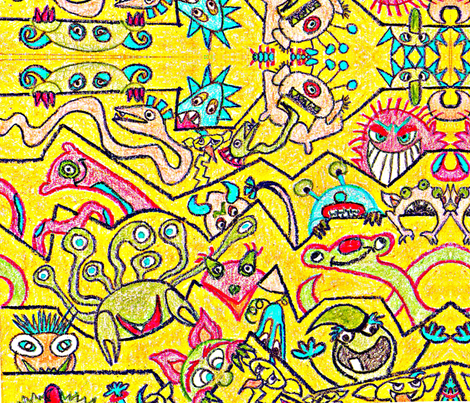 monster peek-a-boo fabric by wendymo on Spoonflower - custom fabric