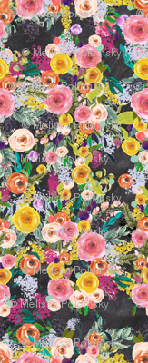 Autumn Blooms Floral Print // Chalkboard (Large)