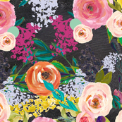 Autumn Blooms Floral Print // Chalkboard