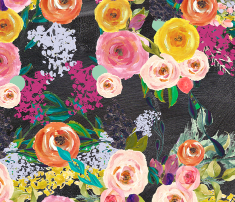 Autumn Blooms Floral Print // Chalkboard (Large) fabric by theartwerks on Spoonflower - custom fabric