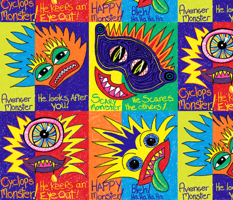 The_Four_Monstertiers. fabric by house_of_heasman on Spoonflower - custom fabric