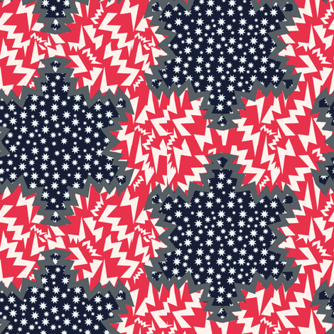 stars and tribes on nay blue fabric by susiprint on Spoonflower - custom fabric