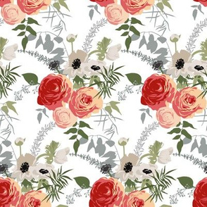 Floral patterns in retro style with anemones and buttercups.