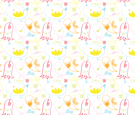 crayonmonsters fabric by shindigdesignstudio on Spoonflower - custom fabric