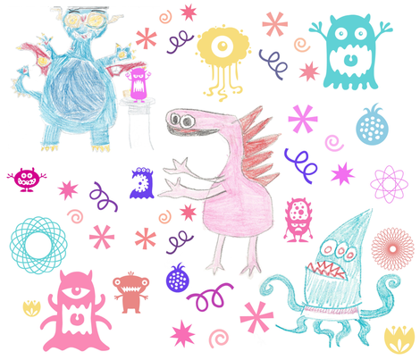 Crayon monsters and friends fabric by kfrogb on Spoonflower - custom fabric