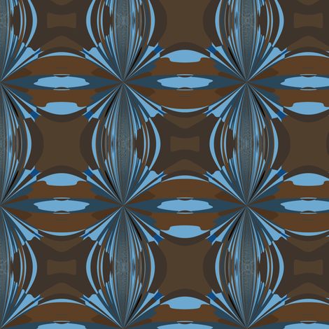 Blue and Brown Abstract Small fabric by gingezel on Spoonflower - custom fabric