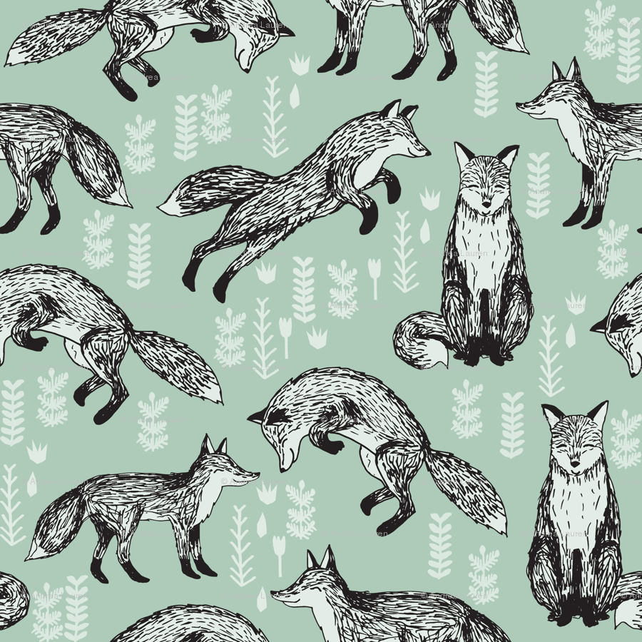 fox mint green woodland animal cute fox for nursery gender