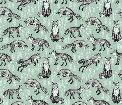 Fox mint green woodland animal cute fox for nursery for Unisex baby fabric