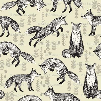 fox // off-white cream baby neutral kids nursery sweet foxes for gender neutral nursery