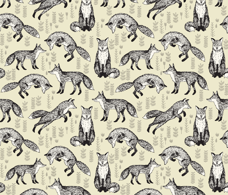 fox // off-white cream baby neutral kids nursery sweet foxes for gender neutral nursery fabric by andrea_lauren on Spoonflower - custom fabric