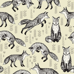 fox // off-white cream baby neutral kids nursery sweet foxes for gender neutral nursery