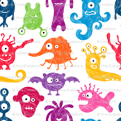 Crayon-drawn monsters
