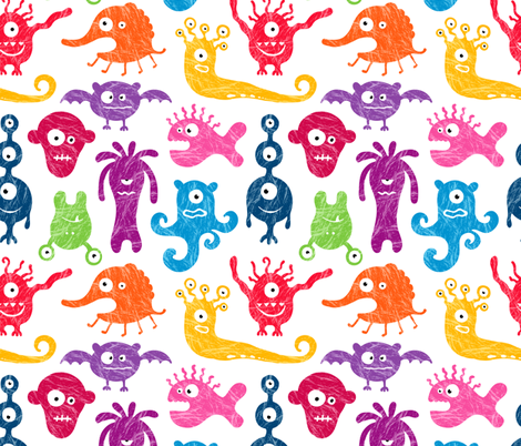 Crayon-drawn monsters fabric by ev-da on Spoonflower - custom fabric