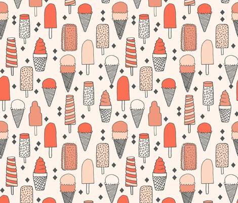 ice cream // sweet blush coral pastel girly summer tropical girls illustration food print fabric by andrea_lauren on Spoonflower - custom fabric