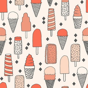 ice cream // sweet blush coral pastel girly summer tropical girls illustration food print