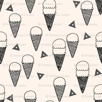 ice cream cones // ice cream cone fabric sweets summer tropical kids fun illustration food design print