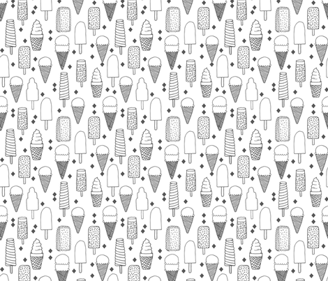 ice cream // sweet charcoal black and white minimal grey kids summer sweet food sweets fabric fabric by andrea_lauren on Spoonflower - custom fabric