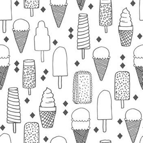 ice cream // sweet charcoal black and white minimal grey kids summer sweet food sweets fabric