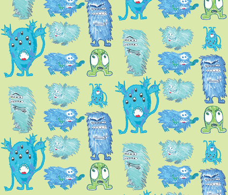 crayon-fun-monsters_ fabric by lucianaconstantinescu on Spoonflower - custom fabric