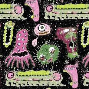 Cosmic Cooties! Half-brick repeat, black pink green lime