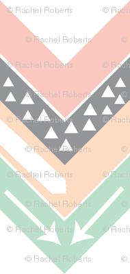 Mint, Blush, Peach, Grey Triangle Arrow Chevron