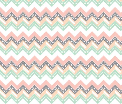 Mint, Blush, Peach, Grey Triangle Arrow Chevron fabric by modfox on Spoonflower - custom fabric