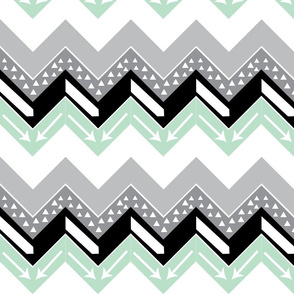 Grey, Mint, Black Triangle Arrow Chevron