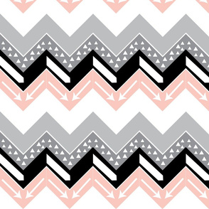 Grey, Blush, Black Arrow Chevron