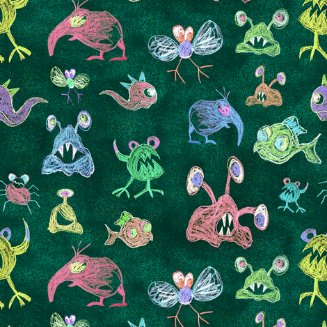 Fiaba Crayon Monsters fabric by honey_gherkin on Spoonflower - custom fabric