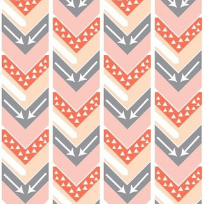 Coral, Blush, Peach, Grey Arrow Chevron - Triangles and Arrows