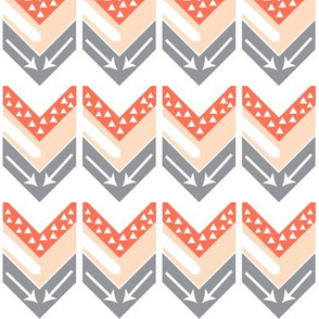 Coral, Blush, Grey Arrow Chevron - Triangles and Arrows
