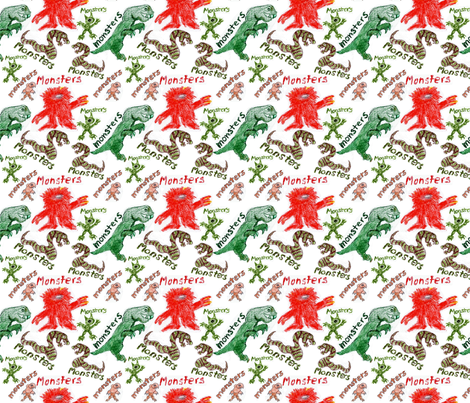 Crayon Monsters fabric by brandymiller on Spoonflower - custom fabric
