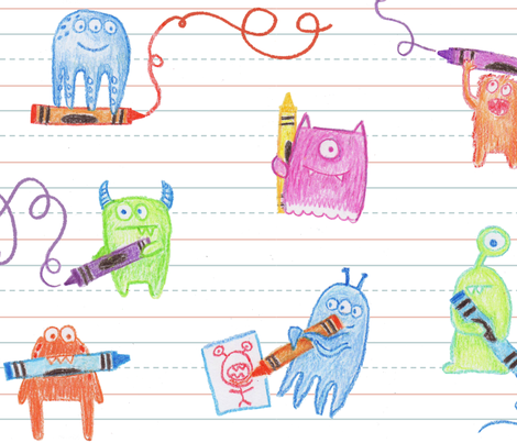 Doodle Monsters fabric by jenimp on Spoonflower - custom fabric