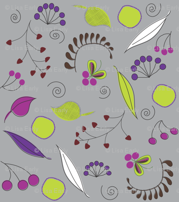 Botanical Dream on Grey